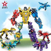 星钻积木积男孩组装恐龙积木变战士 玩具拼装变形机器人金刚