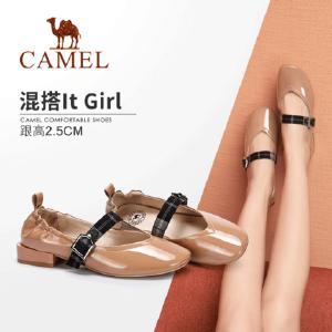 【满299减200元】骆驼女鞋秋新款韩版休闲百搭浅口中低跟单鞋方头复古奶奶鞋女