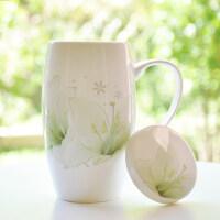 骨瓷陶瓷喝水杯 创意情侣大容量马克杯带盖个性瓷杯子办公室女简约