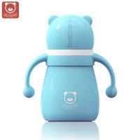儿童宽口径带吸管手柄宝宝保温奶瓶婴儿不锈钢奶瓶