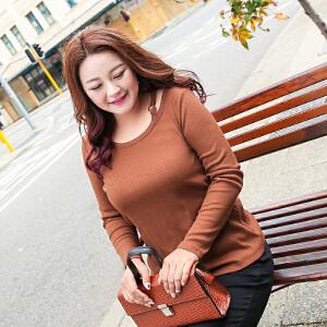 MsShe加大码女装2017新款冬装针织打底衫t恤M1740601