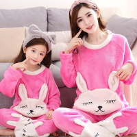 亲子母女儿童睡衣冬珊瑚绒长袖加厚法兰绒可爱女童家居服秋冬套装