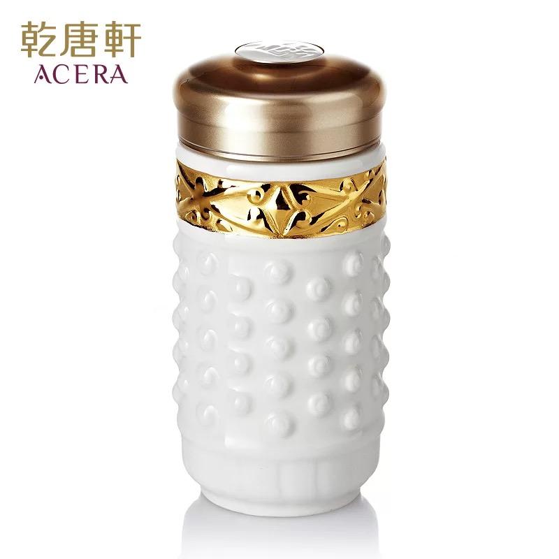 乾唐轩活瓷杯鎏金小乾坤随身杯单层360ml陶瓷水杯子商务