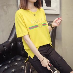 夏季新款宽松学生冰丝短袖T恤衫女2018韩版百搭卡通针织上衣女装