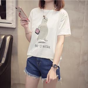 短袖T恤女装夏2018新款韩版t恤学生宽松白色体恤半袖百搭圆领上衣