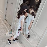 女童运动服套装新款夏装短袖儿童韩版时尚夏季潮衣时髦两件套
