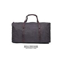 旅行大容量手提包单肩斜跨 多功能行李包疯马皮帆布男包 61*33*26cm