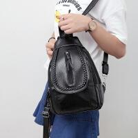 新款水洗皮背包女双肩包女包韩版学院风胸包斜跨包小包潮三用 黑色