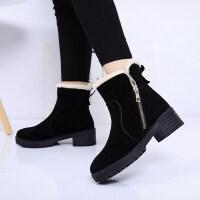 加绒保暖短靴女靴秋冬季棉靴绒面雪地靴中跟粗跟侧拉链马丁靴
