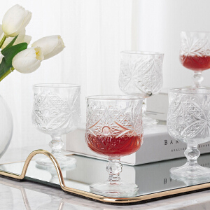 奇居良品 餐厨米娜无铅透明水晶玻璃高脚小酒杯/红酒杯 6件套