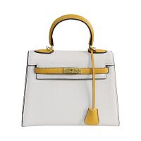 撞色包女包新款斜挎包女欧美女包单肩小包手提包包 白撞黄 25寸