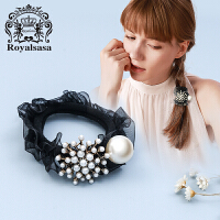 皇家莎莎发饰韩版仿珍珠花朵发圈布艺发绳时尚头绳扎头头花头饰