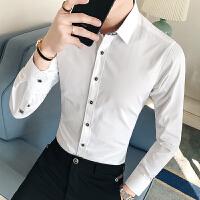 男装春季新款时尚韩版纯色衬衣男士休闲修身长袖衬衫35