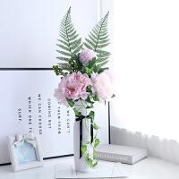 仿真牡丹假花藤陶瓷高花瓶套装束家居客厅餐桌电视柜装饰花艺摆件 白色 花瓶+粉色配花套