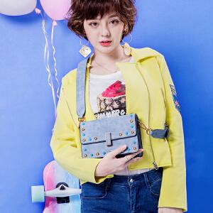 2017新款包包女韩版时尚宽肩带铆钉宽带小方包牛仔蓝单肩斜挎包潮