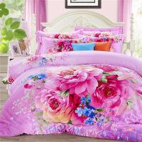 全棉加厚磨毛四件套3D立�w活性印花被套床�渭�棉婚�c4件套 2.0m( 6.6英尺)床