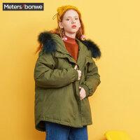 美特斯邦威羽绒服女宽松bf2017冬装新款中长款面包服韩版商场款