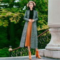 秋冬季英伦复古风千鸟格子毛呢外套女长款修身过膝呢子大衣 图片色