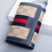 新款钱包女士短款韩版真皮折叠小钱包迷你帆布配牛皮女式钱夹