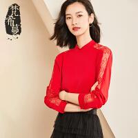 【清仓88元】梵希蔓2019春新款红色雪纺上衣女小立领优雅蕾丝长袖打底衫