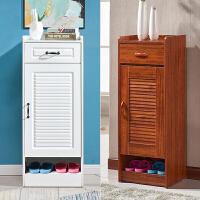 门口小鞋柜客厅迷你多层窄款高柜小户型实木色小号单门家用收纳柜