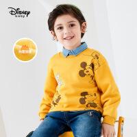 【今日3折�A估�r:47.6元】迪士尼男童加�q�l衣秋冬2020新款童�b卡通米奇休�e�和�上衣