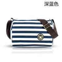 帆布小包单肩斜挎包包包零钱包女包条纹腰包长包包男女学生包 蓝色