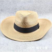 大帽檐夏季男士草帽大头围透气遮阳帽海边防晒帽子可折叠大号帽子