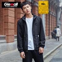 森马潮牌GLEMALL 青年暗纹迷彩拼料短款男装新款连帽外套