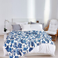 毛毯子印花法兰绒珊瑚绒双人毯午睡毯学生宿舍四季通用被子保暖床单魅力蓝 魅力蓝