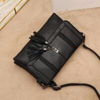 软皮手包女包手抓包新款女士手拿包韩版信封包单肩斜挎流苏包 黑色