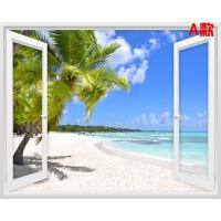 可假窗贴画3立体客厅背景墙装饰浪漫海边风景墙贴餐厅墙贴画 特
