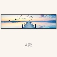 客厅装饰画沙发背景墙北欧风格挂画大气简约现代壁画大海横幅墙画SN0586 200*60 黑色画框 独立