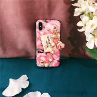 粉色山茶花珍珠少女心链条手机壳iphoneX XS MAX 7 8plus苹果6S XS MAX 6.5英寸(软壳