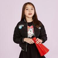 美特斯邦威童装冬季印花短款女童羽绒服保暖修身中大童外套