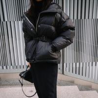 2018冬季新款时尚韩版收腰羽绒服女短款宽松白鸭绒连帽面服外套