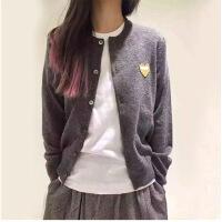 明星同款羊毛衫女针织外套圆领男女爱心情侣装开衫亲子装毛衣外套