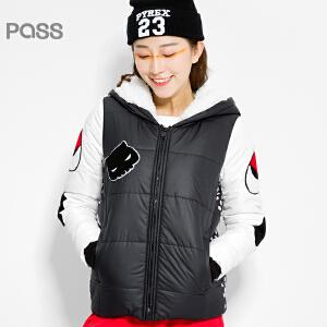 PASS原创潮牌冬装 轻薄柔软至in舒适波点连帽拼接保暖棉衣女6540842037