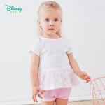 【6.20秒杀价:45】迪士尼Disney童装 女童连衣裙套装夏季新款纯棉套头短袖儿童短裤两件套甜美可爱192T846