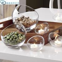 水果盘玻璃摆件玻璃碗烛台斜口家居装饰欧式简约玻璃透明水晶水果盘多层美式装饰品