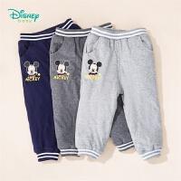迪士尼Disney童装 男宝宝萌趣米奇休闲裤三层夹棉裤子冬季新品保暖防寒长裤194K855