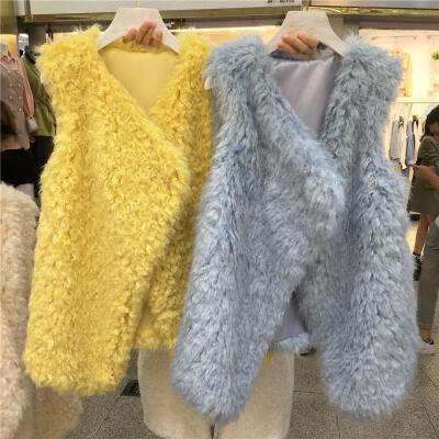 处理秋冬新款编织仿狐狸毛皮草马甲女中长款羊羔毛背心羊卷毛外套