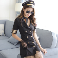 情趣内衣 空姐制服诱惑 女装紧身包臀裙激情诱惑黑色空姐制服性感套装新款