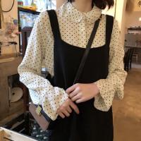 春装2018新款韩版清新小波点翻领内搭百搭打底雪纺长袖衬衫女上衣