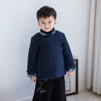 汉服童装男孩复古中国风男童棉袄2017新款冬装加绒加厚外套唐装