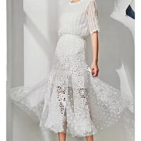 201808260551112032018新款修身高腰长裙鱼尾裙波点网纱拼接水溶蕾丝半身裙镂空沙群