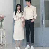 情侣装春秋装2018新款韩版女加厚长袖连衣裙气质长裙衬衫裙子套装