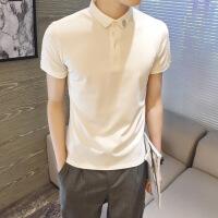 夏装男士翻领短袖polo衫英伦半袖T恤韩版修身商务休闲纯色刺绣潮