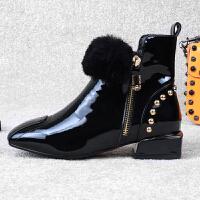 2018秋冬季女鞋新款漆皮方头平底短靴子英伦风加绒保暖百搭马丁靴 TBP 黑色 单里