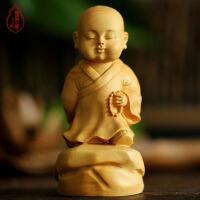 弥勒佛佛像小沙弥 木雕雕刻工艺品家居汽车摆件